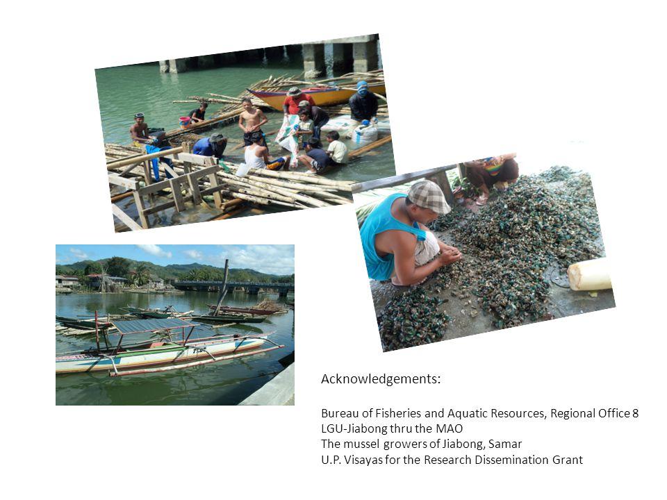 Acknowledgements: Bureau of Fisheries and Aquatic Resources, Regional Office 8 LGU-Jiabong thru the MAO The mussel growers of Jiabong, Samar U.P. Visa