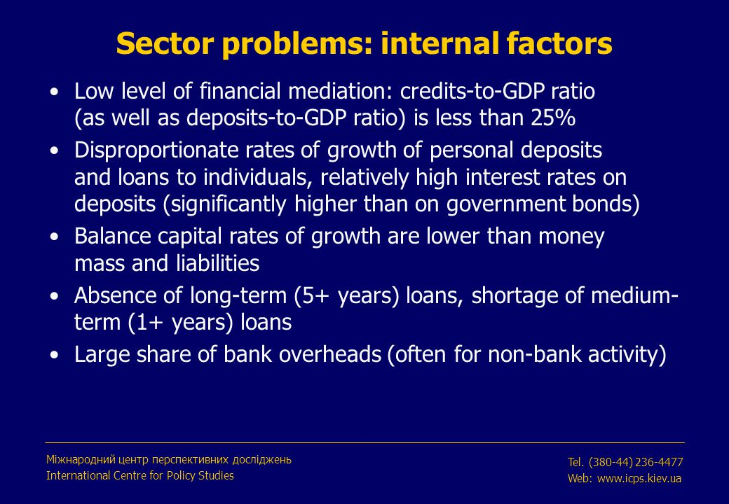 Sector problems: external factors Low asset diversification (lack of financial instruments, weak non-bank financial sector, restrictions on capital flows) Poor adaptation to international standards, including Basel requirements Absence of full-fledged register of borrowers and property owners Creditors' rights need strengthening: currently, borrowers have more rights Міжнародний центр перспективних досліджень International Centre for Policy Studies Tel.