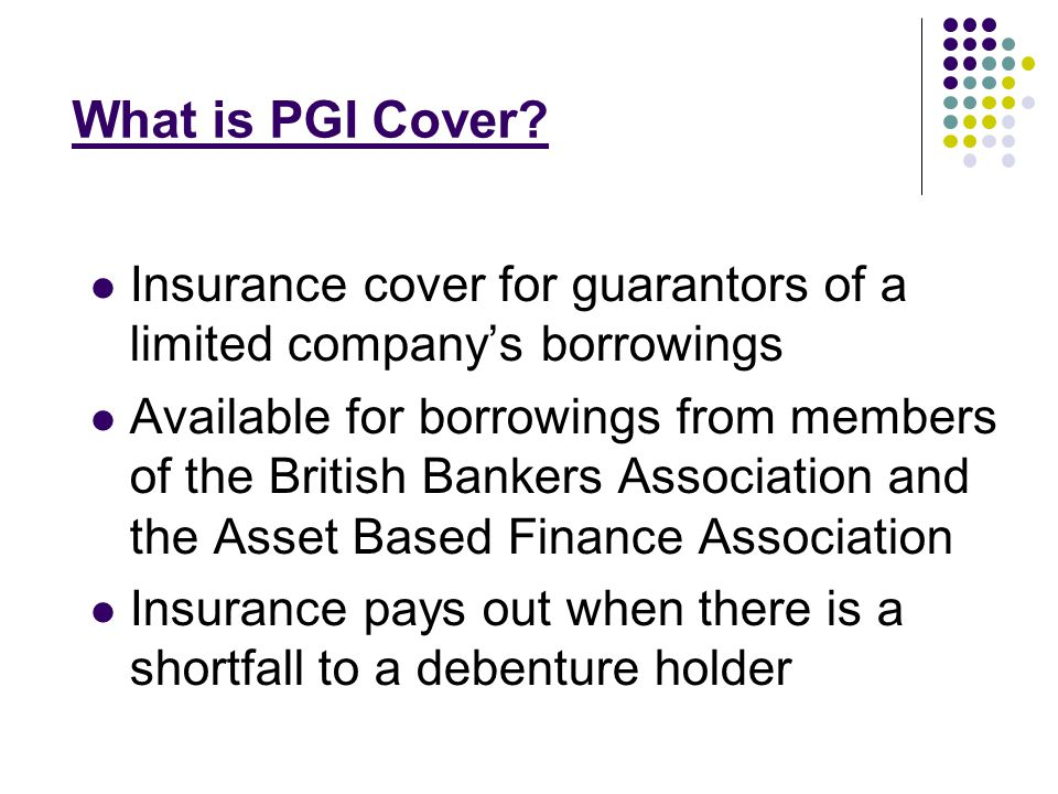 Key Features of PGI Cover Application is made on line see www.pgicover.co.uk www.pgicover.co.uk Once application is accepted cover is in place as soon as the premium is paid.