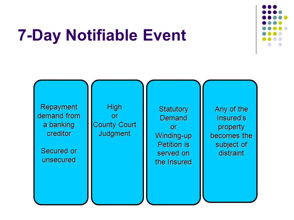 7-Day Notifiable Event Repayment demand from a banking creditor Secured or unsecured Highor County Court Judgment Statutory Demand or Winding-up Petit
