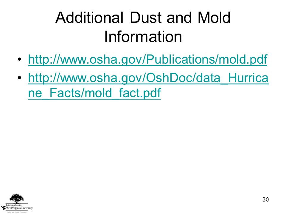 30 Additional Dust and Mold Information http://www.osha.gov/Publications/mold.pdf http://www.osha.gov/OshDoc/data_Hurrica ne_Facts/mold_fact.pdfhttp://www.osha.gov/OshDoc/data_Hurrica ne_Facts/mold_fact.pdf