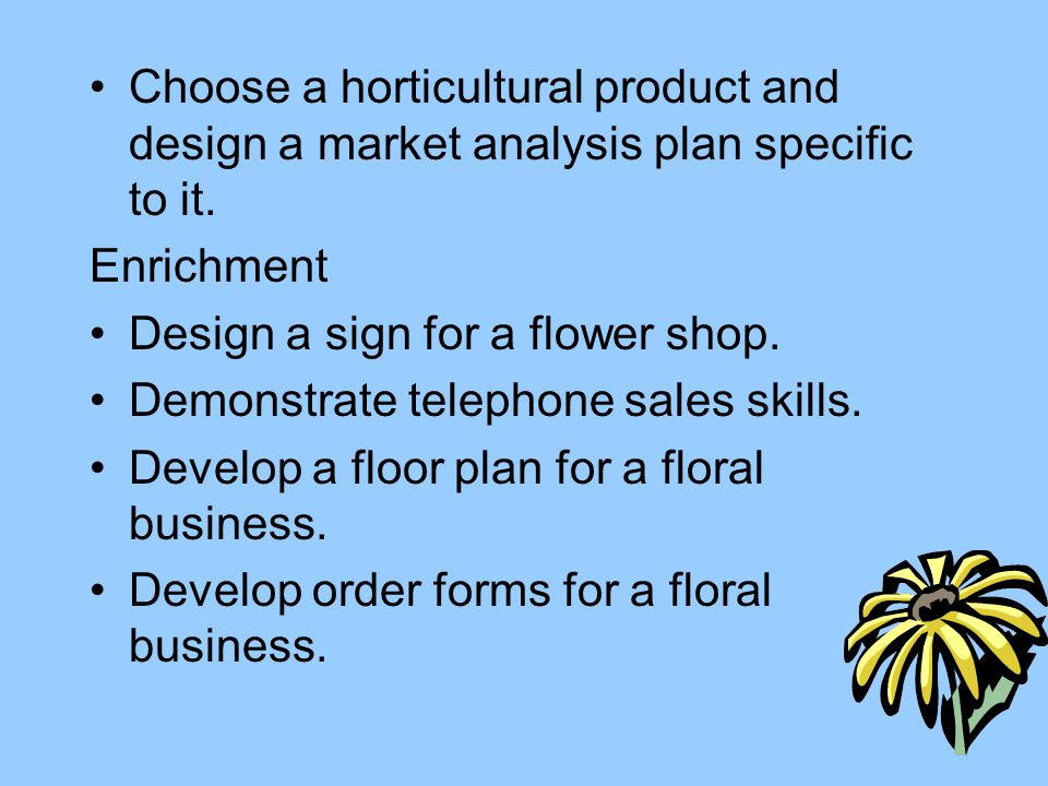 Choose a horticultural product and design a market analysis plan specific to it.