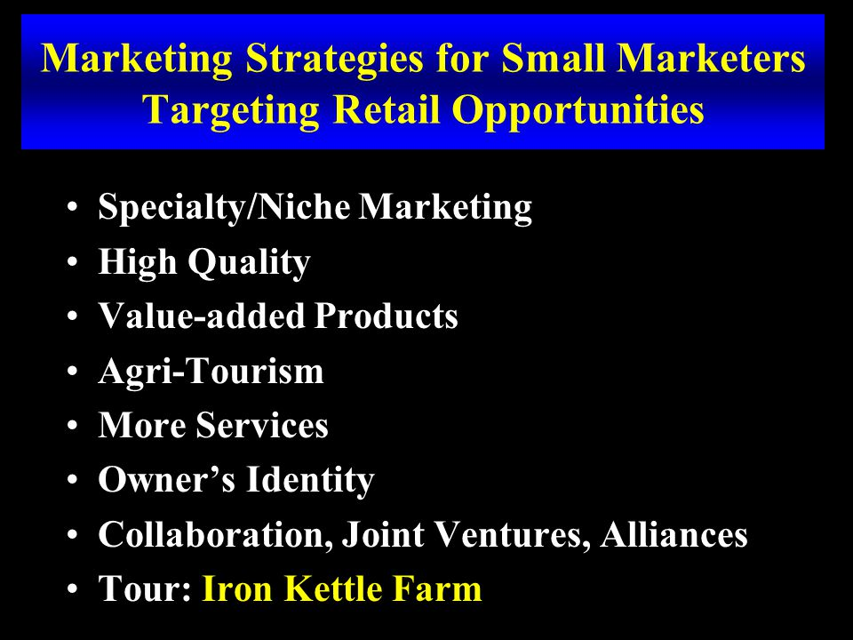 Marketing Strategies for Small Marketers Targeting Retail Opportunities Specialty/Niche Marketing High Quality Value-added Products Agri-Tourism More Services Owner's Identity Collaboration, Joint Ventures, Alliances Tour: Iron Kettle Farm