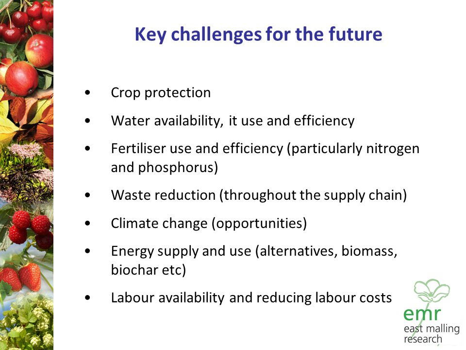 Key challenges for the future Crop protection Water availability, it use and efficiency Fertiliser use and efficiency (particularly nitrogen and phosphorus) Waste reduction (throughout the supply chain) Climate change (opportunities) Energy supply and use (alternatives, biomass, biochar etc) Labour availability and reducing labour costs