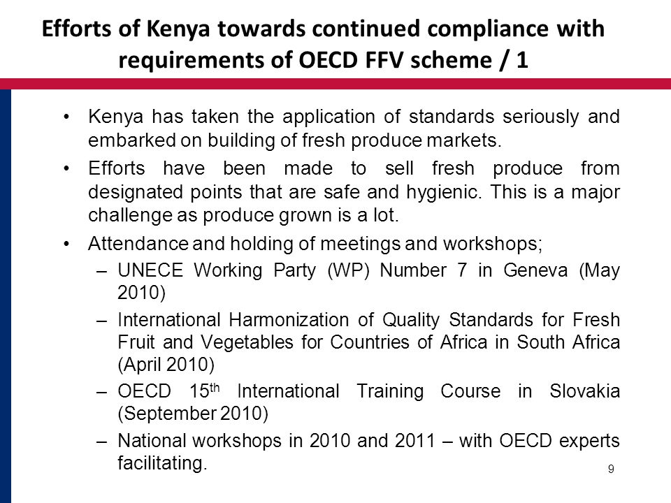 Efforts of Kenya towards continued compliance with requirements of OECD FFV scheme / 2 KEPHIS Inspectors are equipped with basic quality inspection tools.
