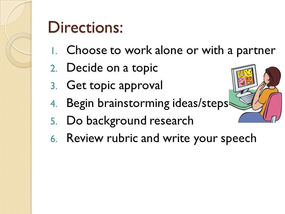 To include in proposal: 1.Type-written copy of demonstration speech 2.