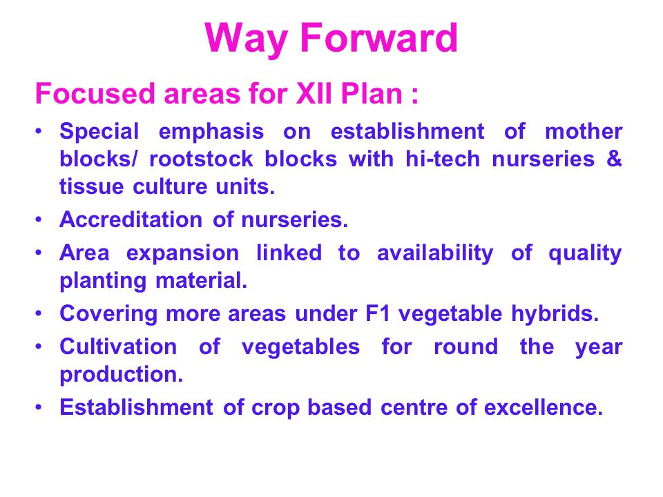 Way Forward Focused areas for XII Plan : Special emphasis on establishment of mother blocks/ rootstock blocks with hi-tech nurseries & tissue culture
