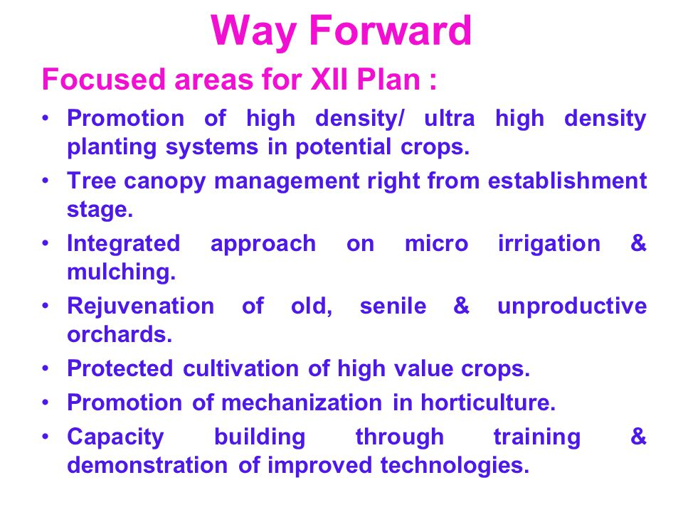 Way Forward Focused areas for XII Plan : Promotion of high density/ ultra high density planting systems in potential crops. Tree canopy management rig