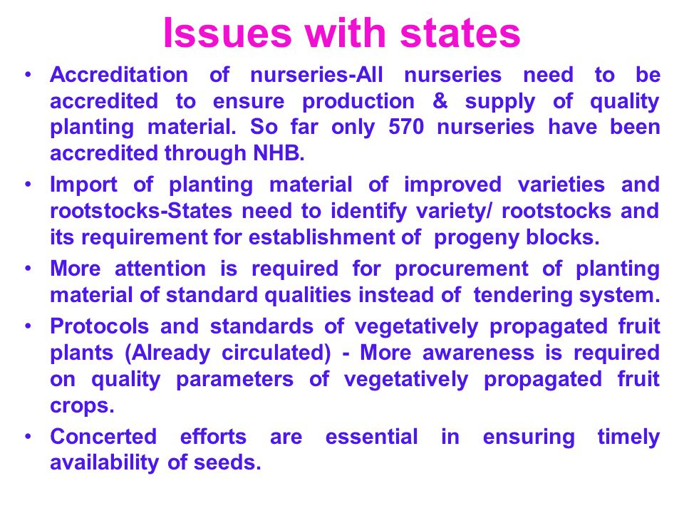 Issues with states Accreditation of nurseries-All nurseries need to be accredited to ensure production & supply of quality planting material. So far o
