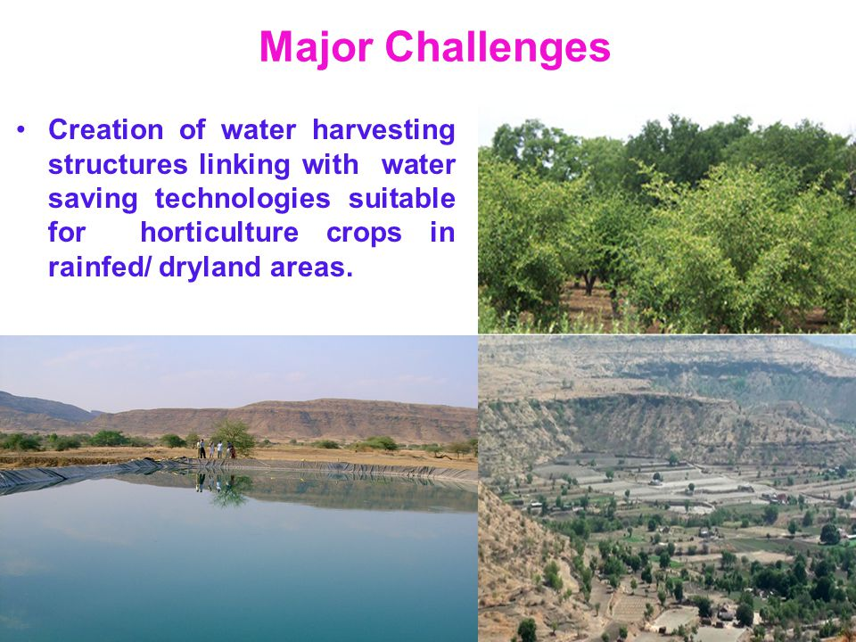 Major Challenges Creation of water harvesting structures linking with water saving technologies suitable for horticulture crops in rainfed/ dryland ar