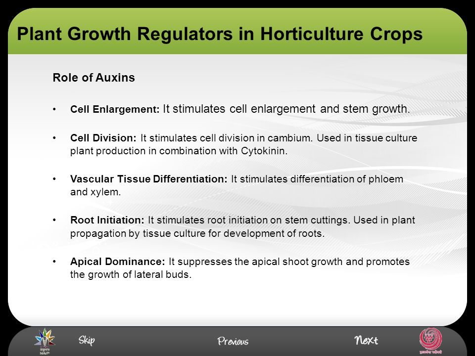 Plant Growth Regulators in Horticulture Crops Cell Enlargement: It stimulates cell enlargement and stem growth. Cell Division: It stimulates cell divi
