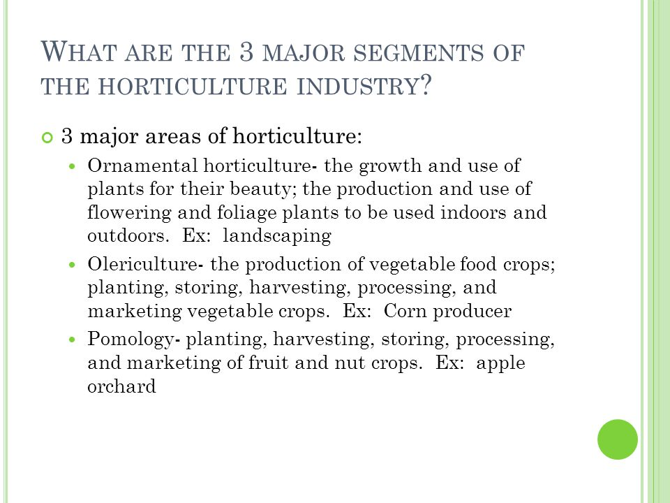 3 major areas of horticulture: Ornamental horticulture- the growth and use of plants for their beauty; the production and use of flowering and foliage