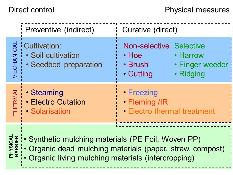 Preventive (indirect)Curative (direct) Cultivation:Non-selectiveSelective Soil cultivation Hoe Harrow Seedbed preparation Brush Finger weeder Cutting Ridging Steaming Freezing Electro Cutation Fleming /IR Solarisation Electro thermal treatment Synthetic mulching materials (PE Foil, Woven PP) Organic dead mulching materials (paper, straw, compost) Organic living mulching materials (intercropping) MECHANICAL THERMAL PHYSICAL BARRIER Direct controlPhysical measures