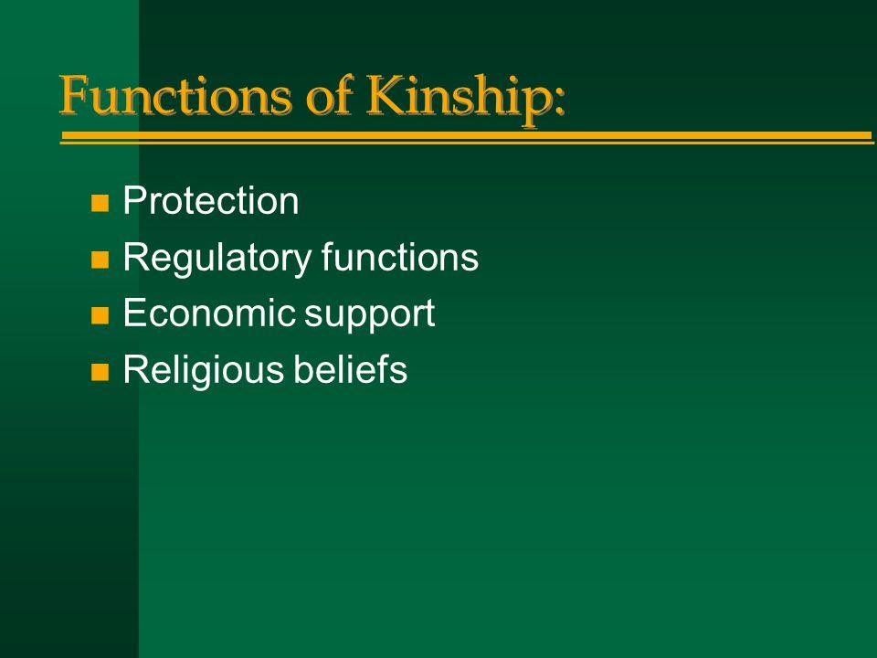 Functions of Kinship: n Protection n Regulatory functions n Economic support n Religious beliefs