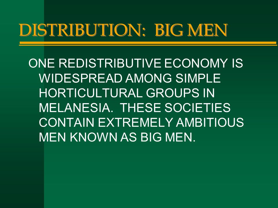 DISTRIBUTION: BIG MEN ONE REDISTRIBUTIVE ECONOMY IS WIDESPREAD AMONG SIMPLE HORTICULTURAL GROUPS IN MELANESIA. THESE SOCIETIES CONTAIN EXTREMELY AMBIT
