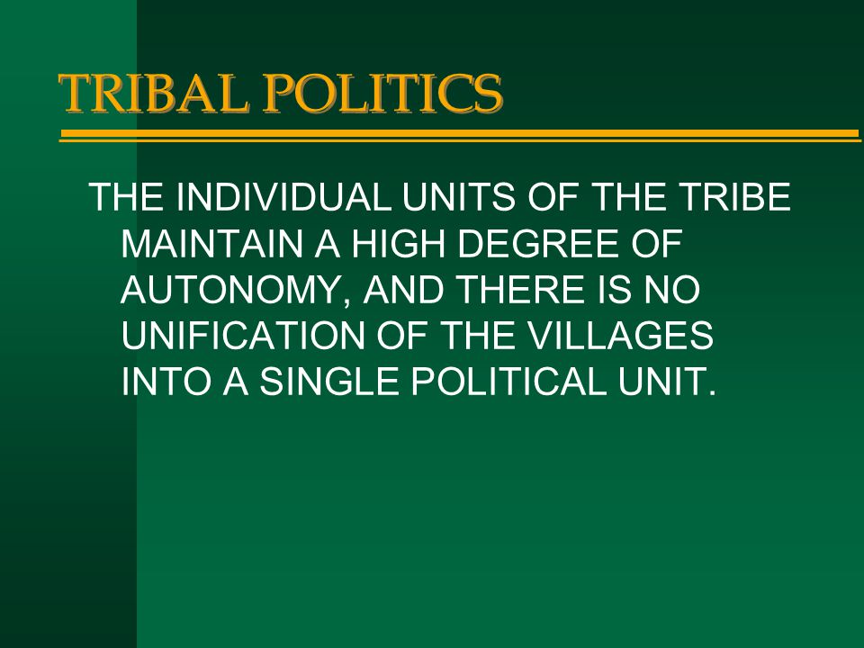 TRIBAL POLITICS THE INDIVIDUAL UNITS OF THE TRIBE MAINTAIN A HIGH DEGREE OF AUTONOMY, AND THERE IS NO UNIFICATION OF THE VILLAGES INTO A SINGLE POLITI