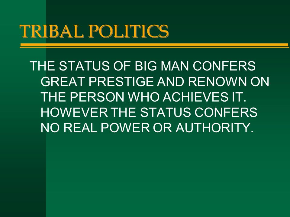 TRIBAL POLITICS THE STATUS OF BIG MAN CONFERS GREAT PRESTIGE AND RENOWN ON THE PERSON WHO ACHIEVES IT. HOWEVER THE STATUS CONFERS NO REAL POWER OR AUT