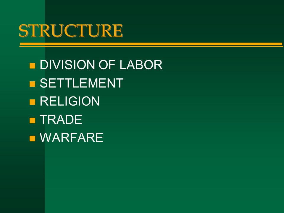 STRUCTURE n DIVISION OF LABOR n SETTLEMENT n RELIGION n TRADE n WARFARE