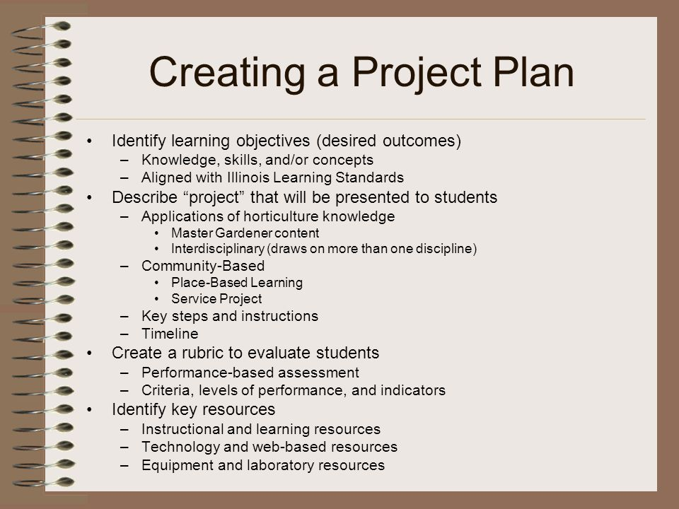 Creating a Project Plan Identify learning objectives (desired outcomes) –Knowledge, skills, and/or concepts –Aligned with Illinois Learning Standards Describe project that will be presented to students –Applications of horticulture knowledge Master Gardener content Interdisciplinary (draws on more than one discipline) –Community-Based Place-Based Learning Service Project –Key steps and instructions –Timeline Create a rubric to evaluate students –Performance-based assessment –Criteria, levels of performance, and indicators Identify key resources –Instructional and learning resources –Technology and web-based resources –Equipment and laboratory resources