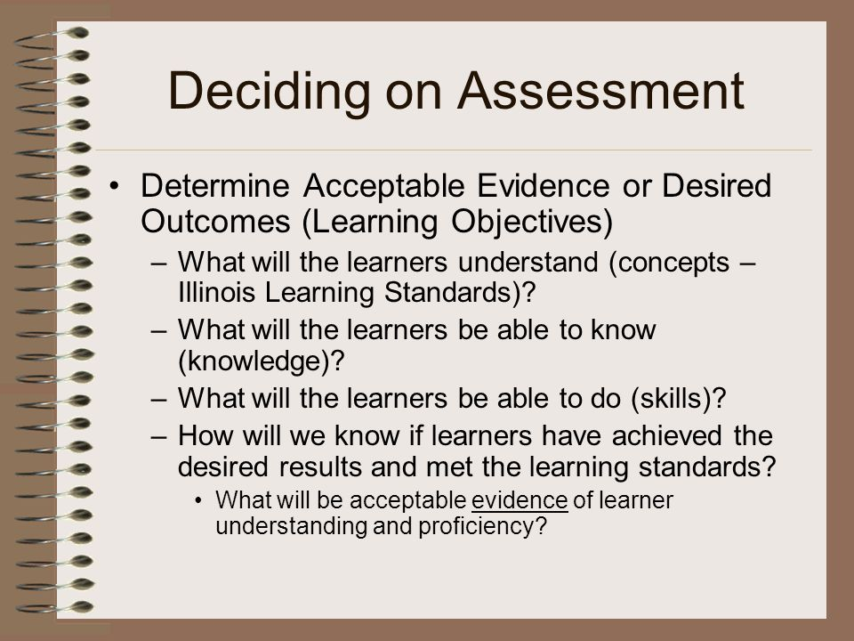 Deciding on Assessment Determine Acceptable Evidence or Desired Outcomes (Learning Objectives) –What will the learners understand (concepts – Illinois Learning Standards).