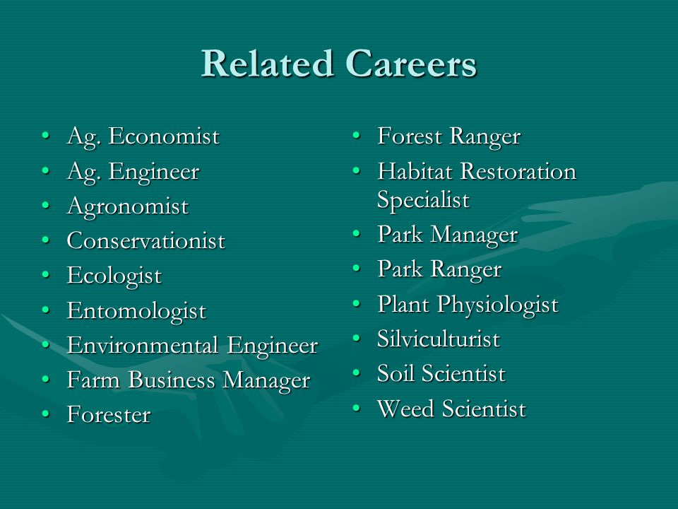 Related Careers Ag.EconomistAg. Economist Ag. EngineerAg.