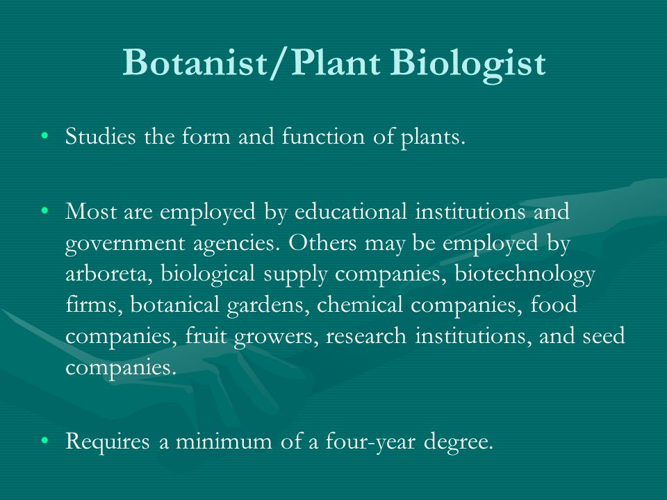 Botanist/Plant Biologist Studies the form and function of plants.