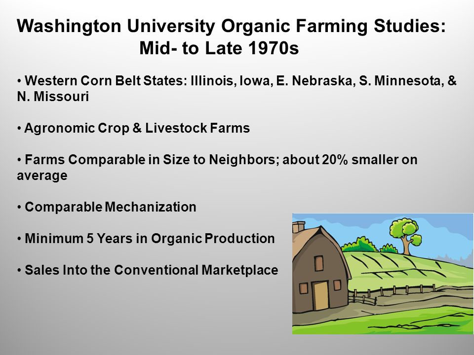 Washington University Organic Farming Studies: Mid- to Late 1970s Western Corn Belt States: Illinois, Iowa, E.