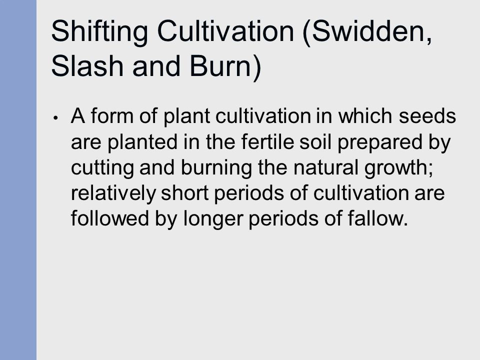 Shifting Cultivation (Swidden, Slash and Burn) A form of plant cultivation in which seeds are planted in the fertile soil prepared by cutting and burn