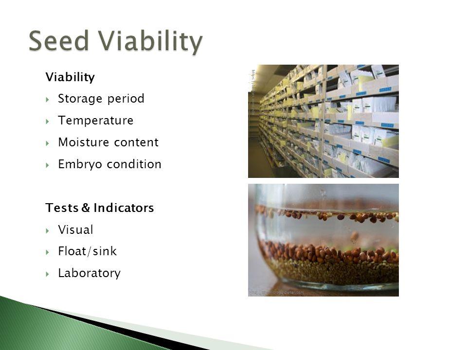 Viability  Storage period  Temperature  Moisture content  Embryo condition Tests & Indicators  Visual  Float/sink  Laboratory http://themicrogardener.com https://badger.uvm.edu