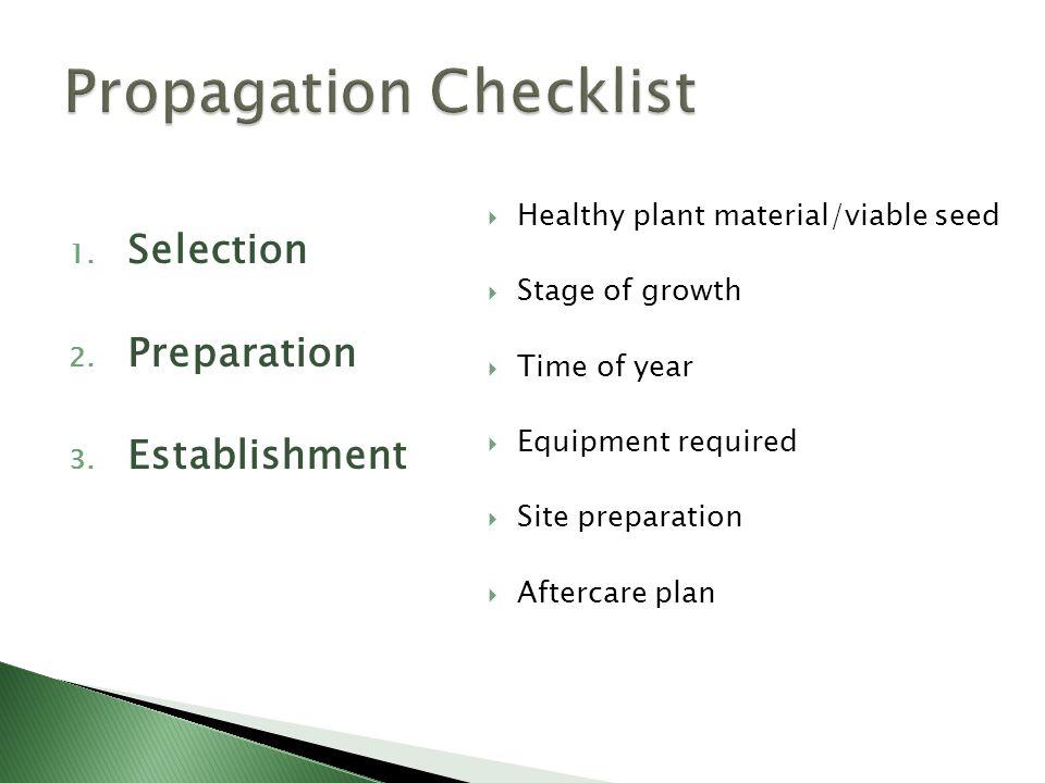 1. Selection 2. Preparation 3.
