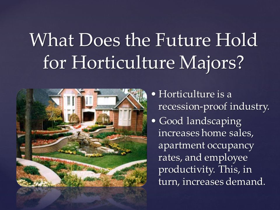 Horticulture is a recession-proof industry.Horticulture is a recession-proof industry.
