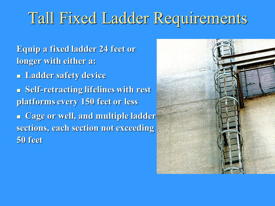 Tall Fixed Ladder Requirements Equip a fixed ladder 24 feet or longer with either a: Ladder safety device Ladder safety device Self-retracting lifelin