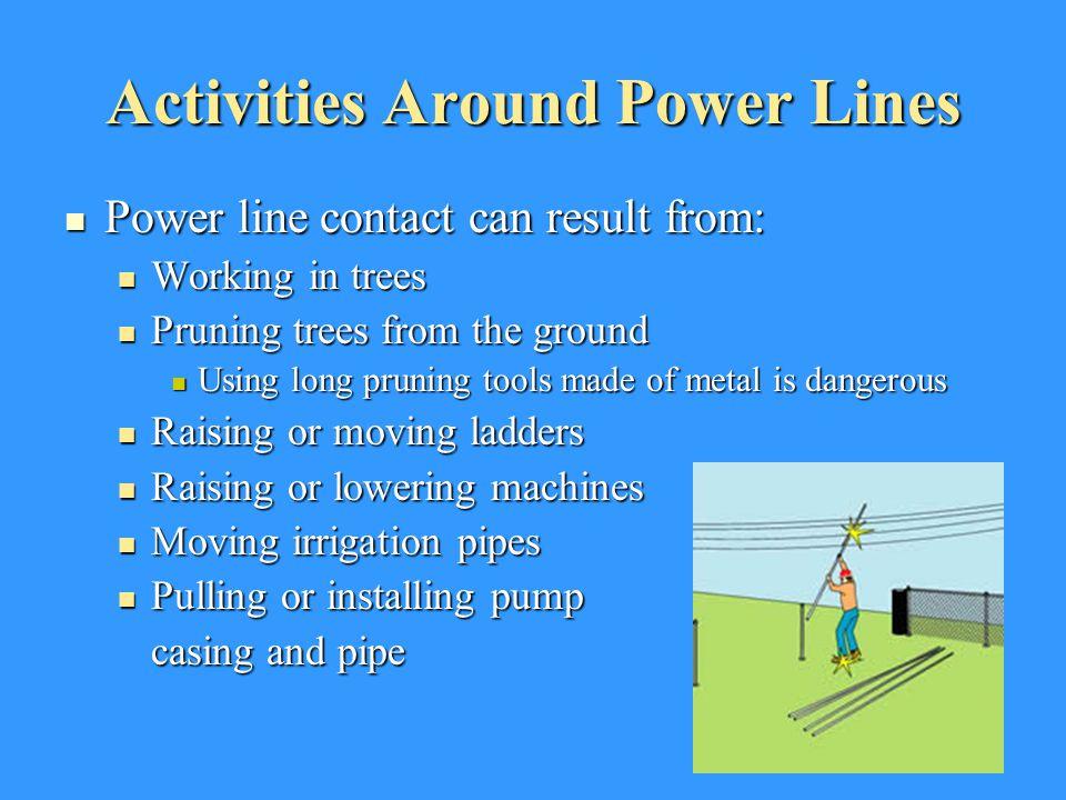 Activities Around Power Lines Power line contact can result from: Power line contact can result from: Working in trees Working in trees Pruning trees
