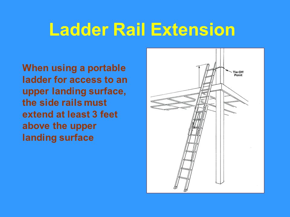 When using a portable ladder for access to an upper landing surface, the side rails must extend at least 3 feet above the upper landing surface Ladder Rail Extension