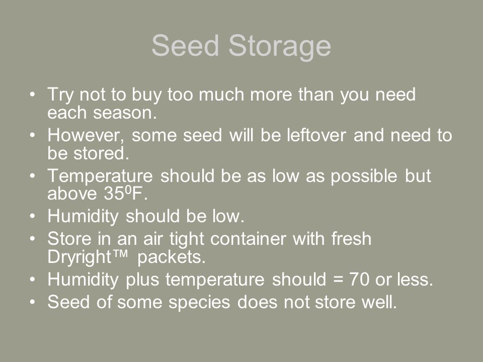 How a Grower can test his/her own seed A simple method is to count out a certain amount of seed.