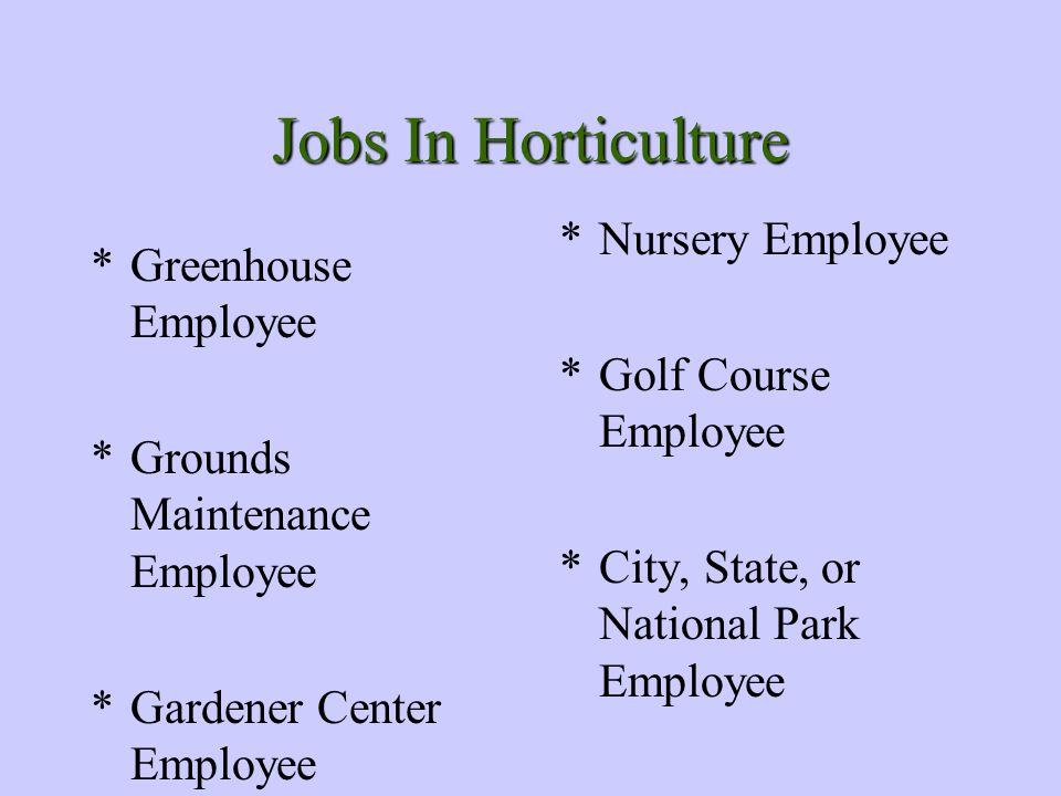 Jobs In Horticulture *Greenhouse Employee *Grounds Maintenance Employee *Gardener Center Employee *Nursery Employee *Golf Course Employee *City, State, or National Park Employee