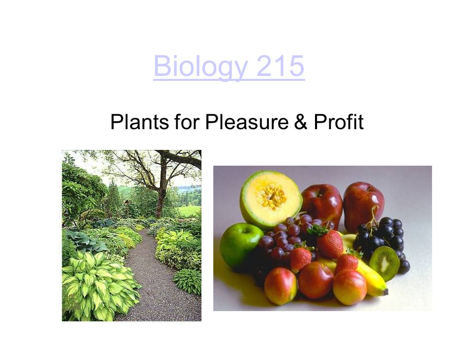 Biology 215 Plants for Pleasure & Profit