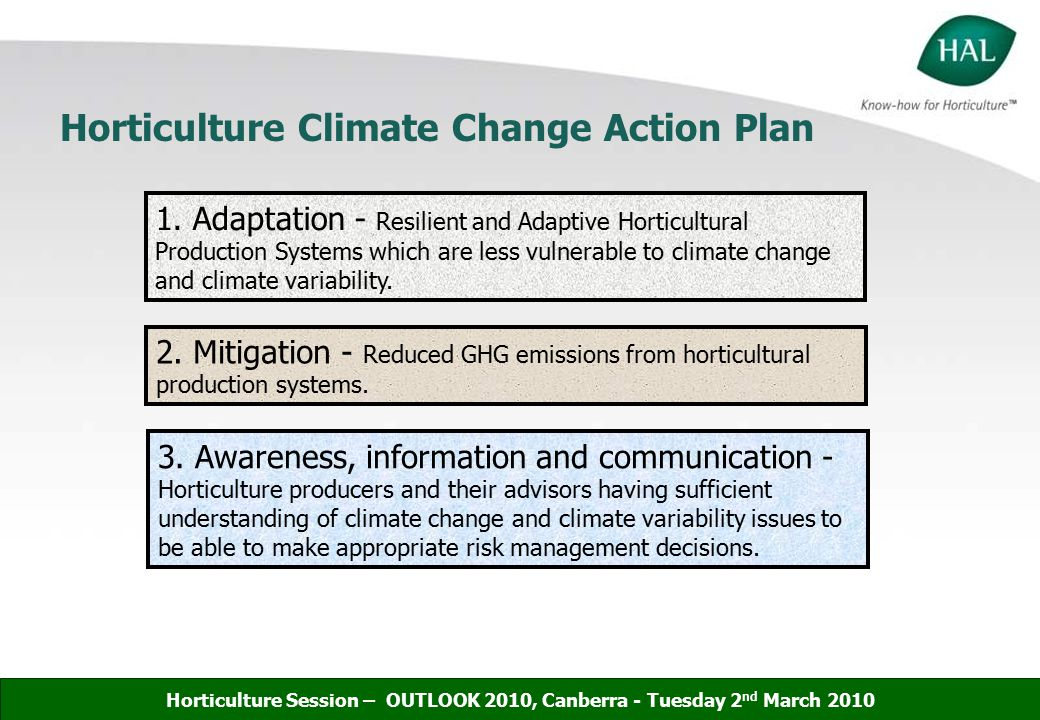 Horticulture Climate Change Action Plan 1.