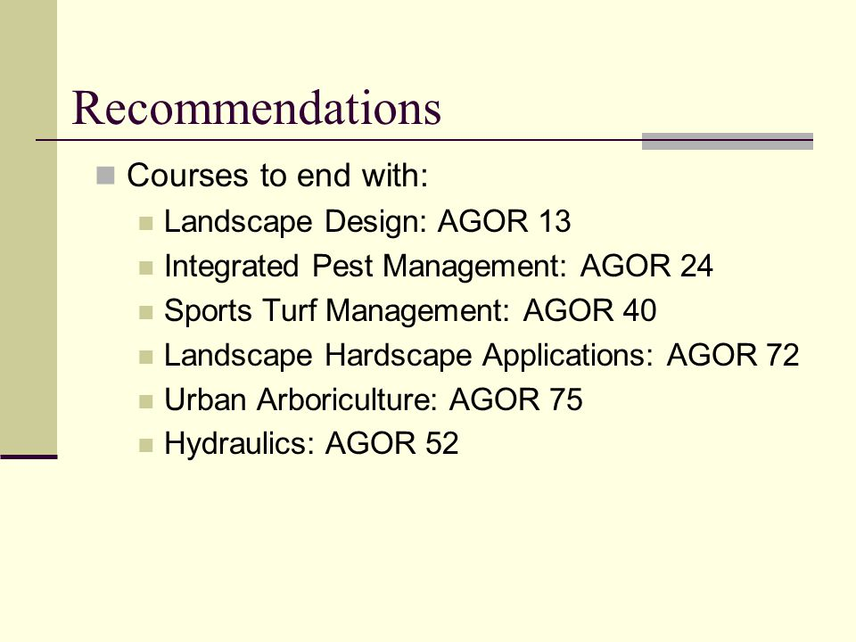 Recommendations Courses to end with: Landscape Design: AGOR 13 Integrated Pest Management: AGOR 24 Sports Turf Management: AGOR 40 Landscape Hardscape Applications: AGOR 72 Urban Arboriculture: AGOR 75 Hydraulics: AGOR 52