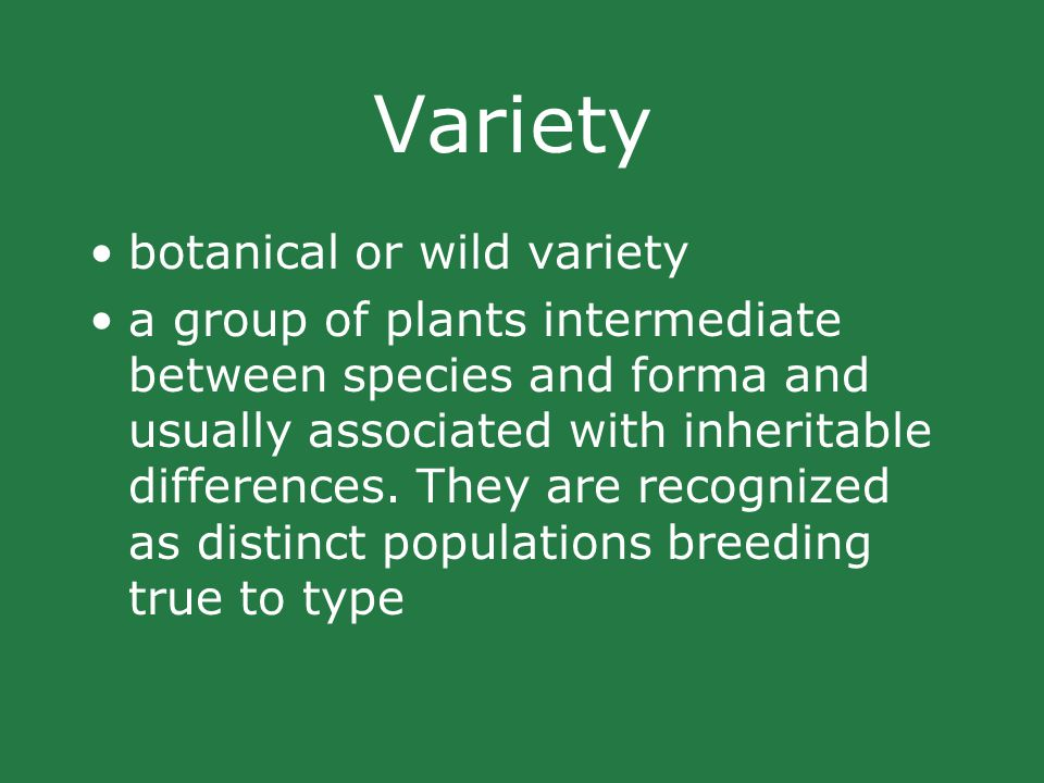Variety botanical or wild variety a group of plants intermediate between species and forma and usually associated with inheritable differences.