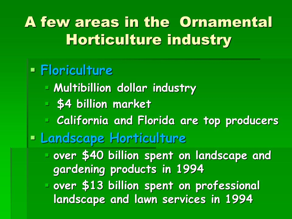 A few areas in the Ornamental Horticulture industry  Floriculture  Multibillion dollar industry  $4 billion market  California and Florida are top producers  Landscape Horticulture  over $40 billion spent on landscape and gardening products in 1994  over $13 billion spent on professional landscape and lawn services in 1994
