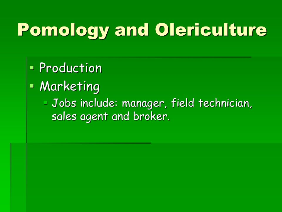 Pomology and Olericulture  Production  Marketing  Jobs include: manager, field technician, sales agent and broker.