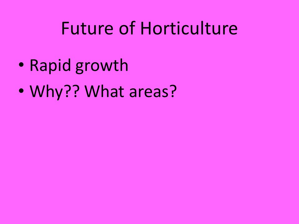 Future of Horticulture Rapid growth Why What areas