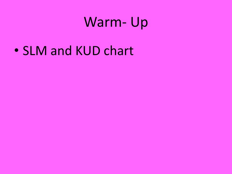 Warm- Up SLM and KUD chart