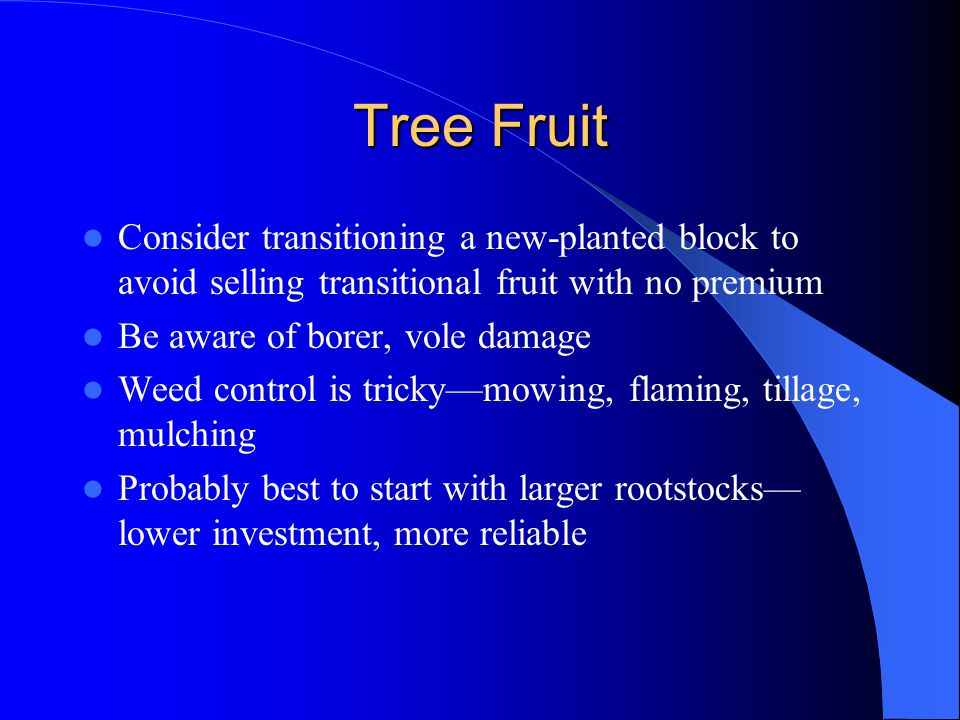 Tree Fruit Consider transitioning a new-planted block to avoid selling transitional fruit with no premium Be aware of borer, vole damage Weed control