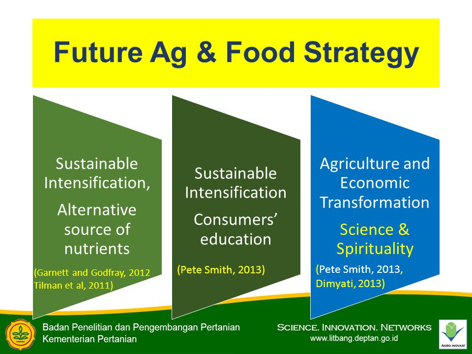 Future Ag & Food Strategy Sustainable Intensification, Alternative source of nutrients Sustainable Intensification Consumers' education Agriculture and Economic Transformation Science & Spirituality (Garnett and Godfray, 2012 Tilman et al, 2011) (Pete Smith, 2013, Dimyati, 2013) (Pete Smith, 2013)