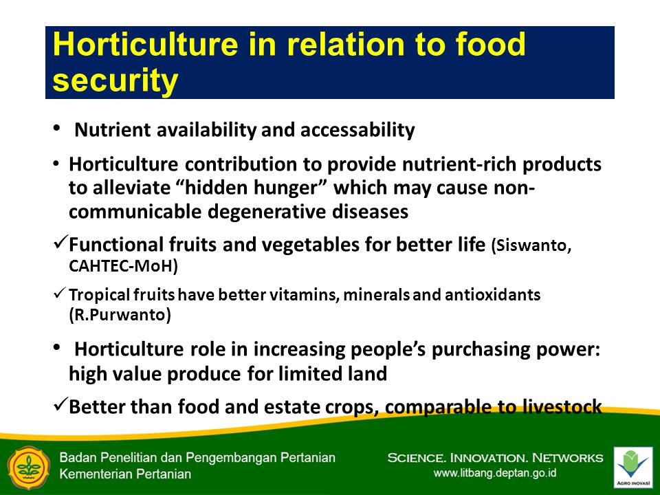 Horticulture in relation to food security Nutrient availability and accessability Horticulture contribution to provide nutrient-rich products to alleviate hidden hunger which may cause non- communicable degenerative diseases Functional fruits and vegetables for better life (Siswanto, CAHTEC-MoH) Tropical fruits have better vitamins, minerals and antioxidants (R.Purwanto) Horticulture role in increasing people's purchasing power: high value produce for limited land Better than food and estate crops, comparable to livestock