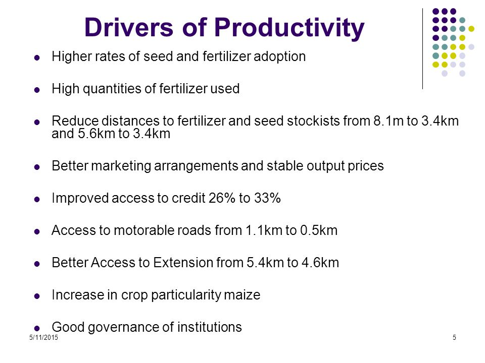 5/11/20156 Summary of the Productivity Trends Increasing Maize Tea Dairy Declining Coffee Sugarcane Rising but fluctuating Horticulture (cabbages Irish potatoes)