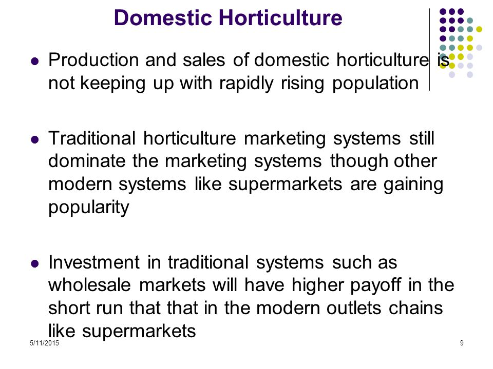 5/11/20159 Domestic Horticulture Production and sales of domestic horticulture is not keeping up with rapidly rising population Traditional horticulture marketing systems still dominate the marketing systems though other modern systems like supermarkets are gaining popularity Investment in traditional systems such as wholesale markets will have higher payoff in the short run that that in the modern outlets chains like supermarkets