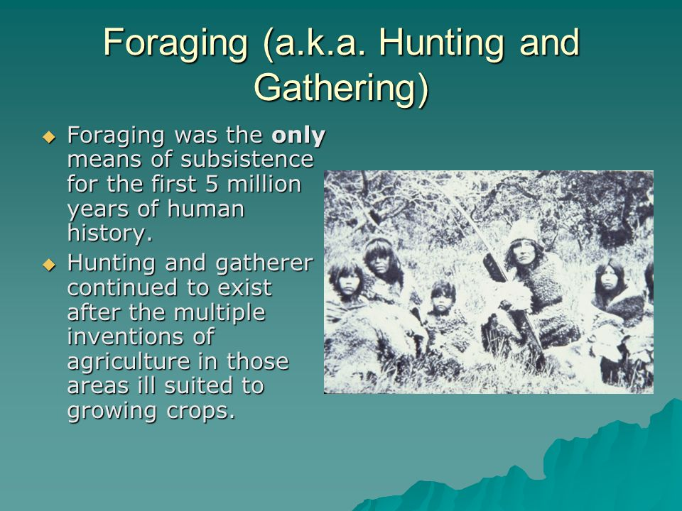 Foraging (a.k.a. Hunting and Gathering)  Foraging was the only means of subsistence for the first 5 million years of human history.  Hunting and gat